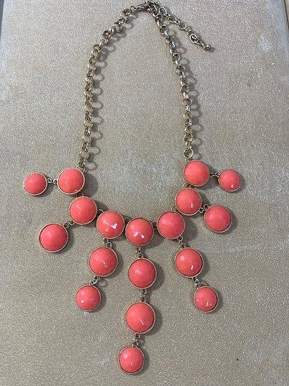"NY Brand Bib Style Salmon Color Plastic Jewel Necklace 18"""