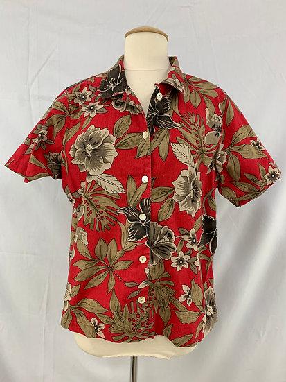 Blair Women's Short Sleeve Shirt size large Red Tan Button Down Blouse Cotton Fl