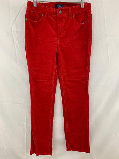 NWT Talbots Women 2 Crimson Corduroy Heritage Slimming 5 Pocket Pant Cotton Stre