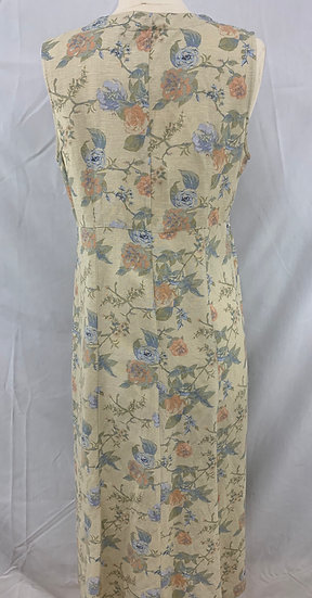 VALERIE STEVENS PETITES size 8P Summer Women's Long Dark Ivory Blue Pink Floral