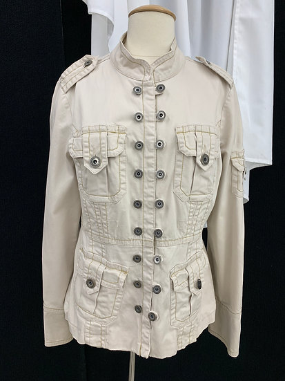 TWILL Twenty Two 22 Women's size large Ivory Cotton Stretch Button Utility Jacke