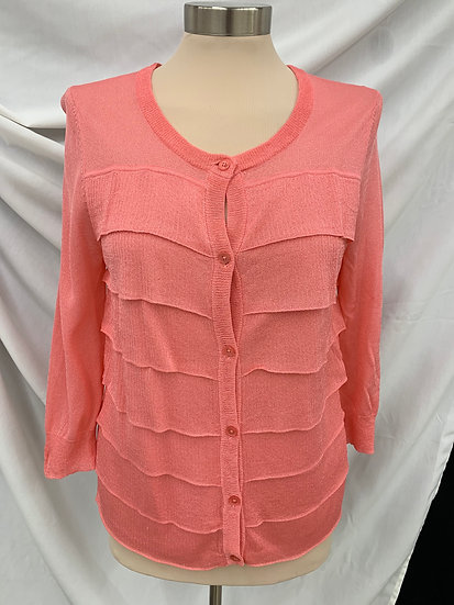 NWT Talbots Cardigan Sweater Dark Salmon Pink Womens Size M Ruffle 3/4 Sleeve