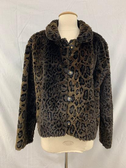 Women's Outback Trading Company LTD Faux Fur Waist Jacket Gray Black