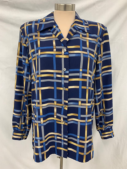 Alia Women's size 8 long sleeve button up shirt Blue Gold