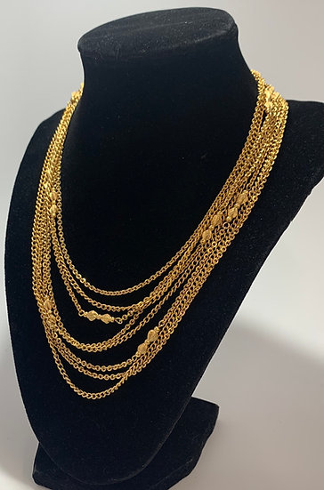 Vintage Gold Tone Multi Strand Ribbon/Bow Accent Necklace