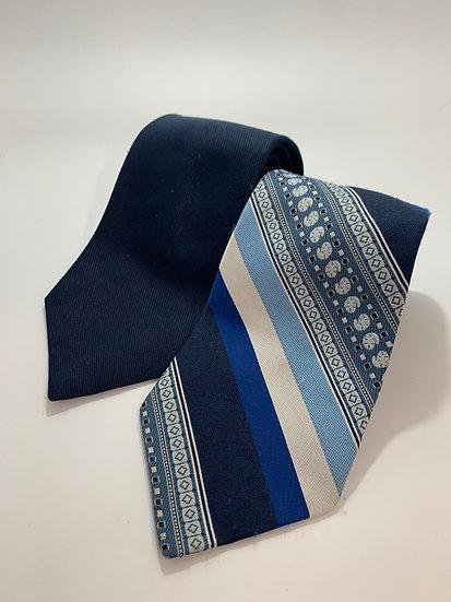 "Vintage Ties 2 JC Penney Solid & Blue Stripe 58"""