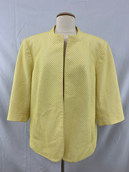 TALBOTS Yellow White Womens Open Front Jacket