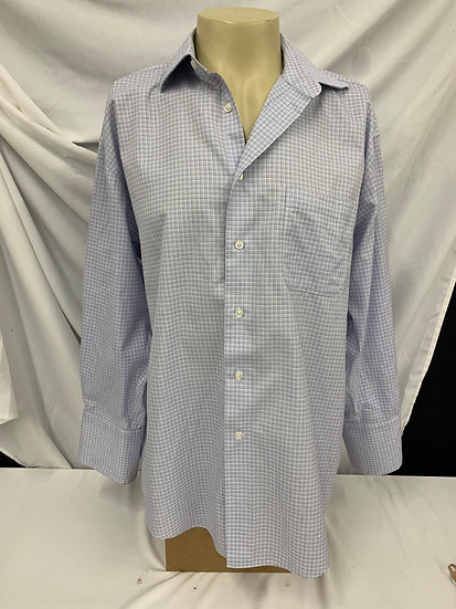 Men's JOE Joseph Abbound Shirt sz 17 1/2 Egyptian Cotton Blue Stripe Plaid Long