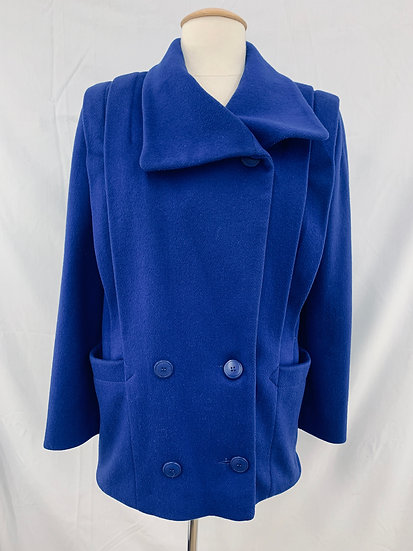 j.gallery Women's Blue 2 Pockets Wool Coat