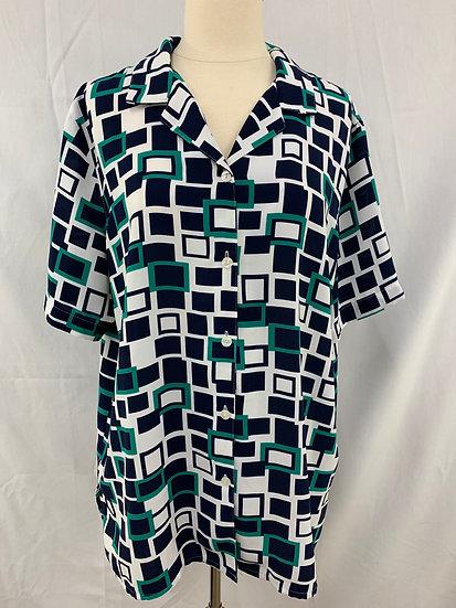 Alfred Dunner Women's size 14 Green Whiter Button Down Short Sleeve Shirt Semi S
