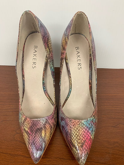 Bakers Trolly Multi color pink yellow blue Stiletto Heels sz 6