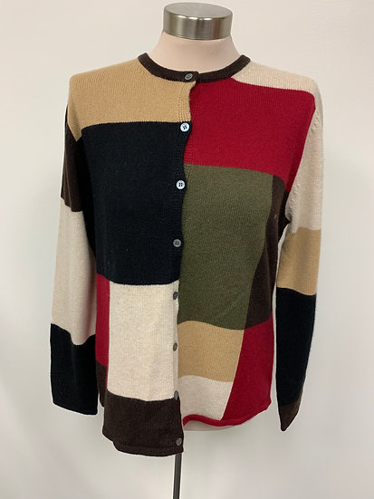 Lord and Taylorr size L Cashmere Wool Color Block Brown Tan Olive Green Ivory Sw
