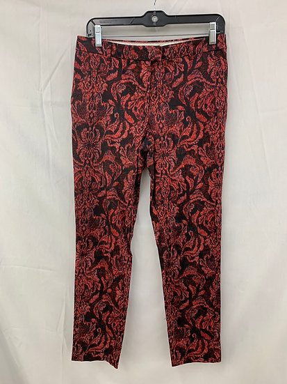 H&M Pants Size 6 US 36 EURO Black Red Floral Design Trousers Slacks