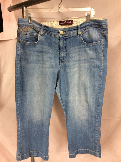 Gloria Vanderbelt Women's size 14 5 Pocket Embellishment Pedal Pusher Jeans
