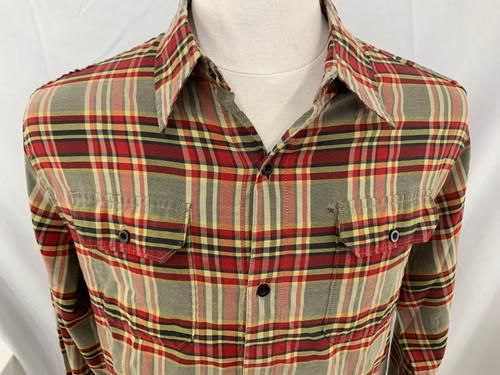 510a2fb4 VINTAGE Hurley International Freedom Men's M Red black Tan Long Sleeeve  Plaid Bu
