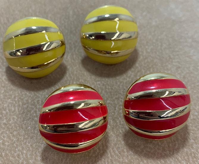 Vintage Set of 2 Round Gold Tone Red & Yellow Enamel Stripe Earrings
