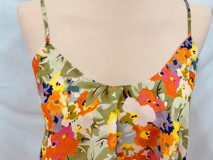 jenny han Woman's Sleeveless Layered Top size M orange pink yellow green