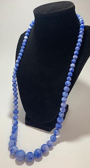 "Vintage Blue Swirl Plastic Bead Necklace 29"""