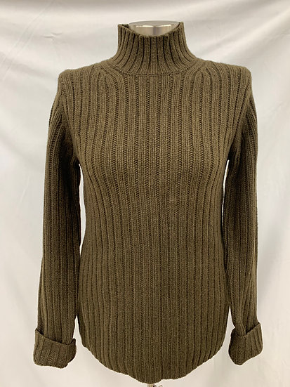 NWT +J Mens Open the Future Olive Heavy Gauge High Neck Sweater sz Small