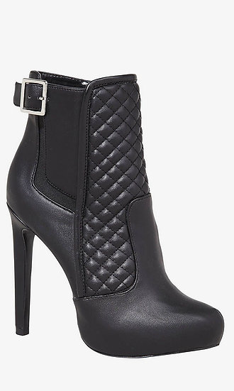 EXPRESS Black Quilted Stiletto Ankle Boots Silver Buckle size