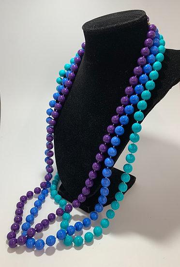 "Set of 3 Vintage Plastic Bead Necklaces, Purple-Blue-Teal 30"""