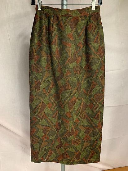 Kansai Japan Green Burnt Orange Black Wool Pencil Straight Skirt