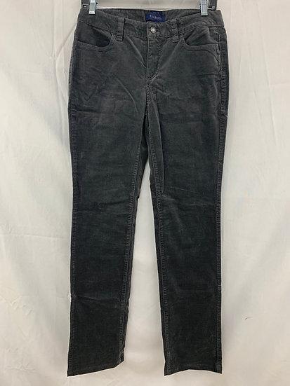 Talbots Women sz 4L Charcoal Gray Corduroy Heritage 4 Pocket Pant Cotton Stretch