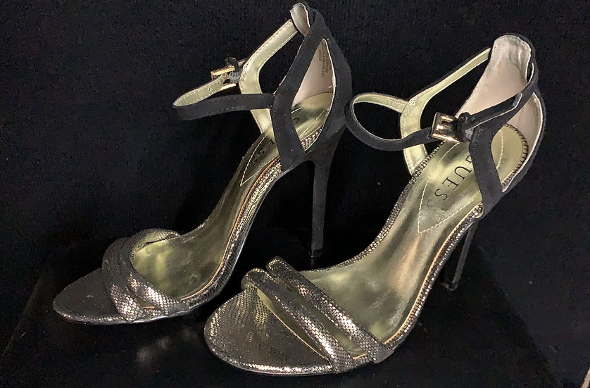 GUESS Black & Gold Wgaimy Suede Leather Formal Shoes High Heels Sand
