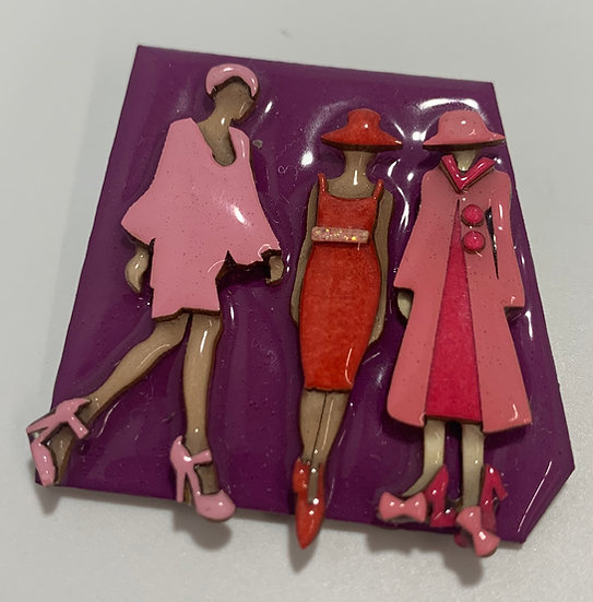 Designs by Lucinda Fashion figures Pin Purple Pink