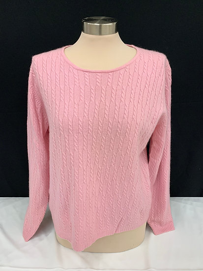 Lord and Taylor Light Pink Cable Knit Long Sleeve 100% Cashmere Sweater