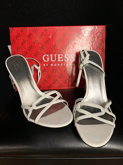 Guess by Marciano White Leather Strap Heels Sz 10