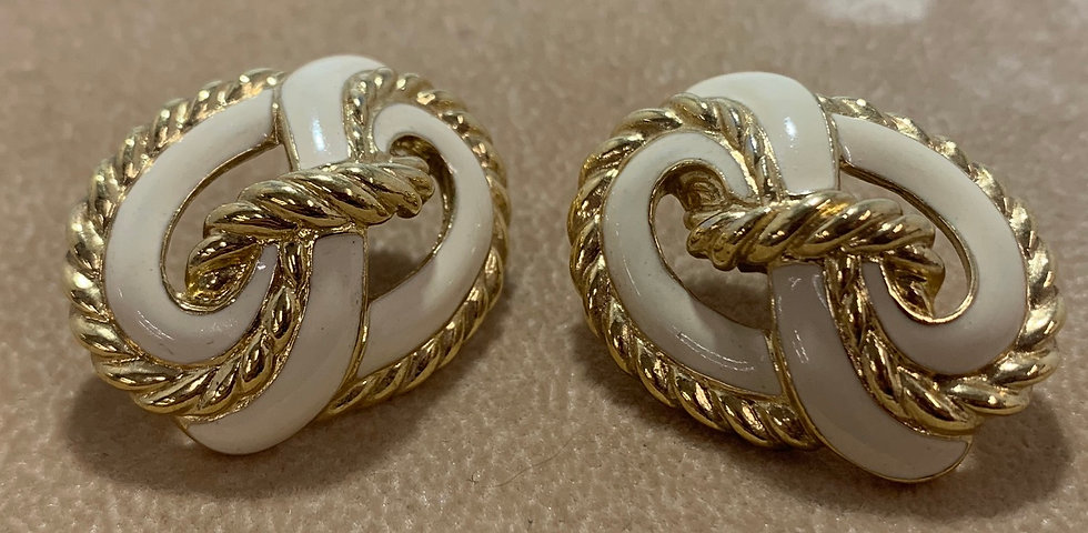 Trifari Vintage Off White Enamel Gold Tone Rope Accent Earrings