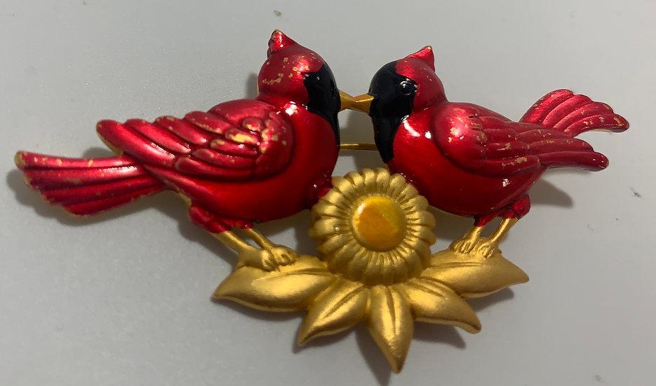 JJ Cardinals & Sunflower Gold Tone Brooch/Pin