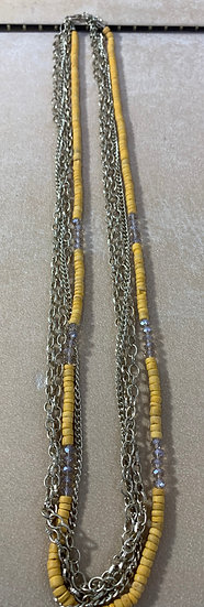 Vintage Yellow Bead and Chain Opera Style Necklace 36""
