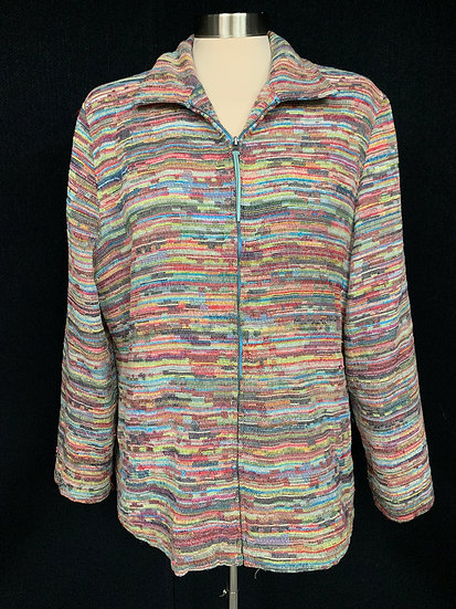 M.D.L. New York Women's XL pink yellow blue black white jzip up acket