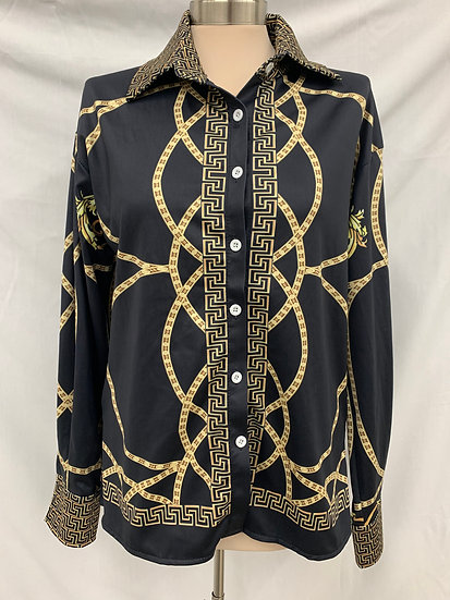 Greek Mythology Woman's size M black and gold long sleeve button down shirt
