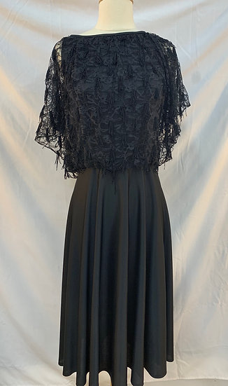 Long Black Satin look and Lace Women's Dress