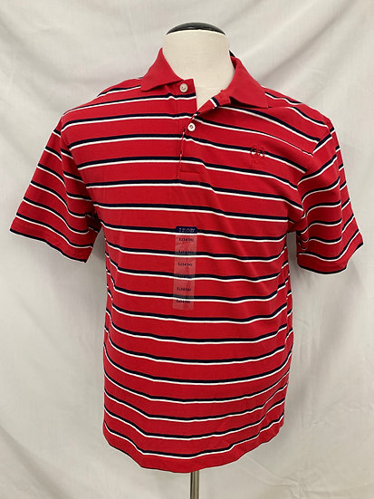 IZOD Boy's Large (14-16) Polo Double Mercerized Red White Black Strip Short-Slee