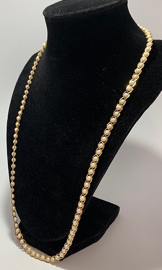 Vintage Faux Pearl & Gold Tone Chain Wrap-a-round Necklace 25""