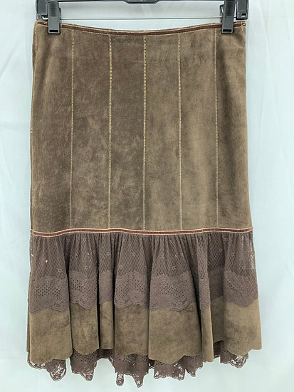 june Women's size O Genuine Leather Suede Chocolate Brown Below Kneei Skirt