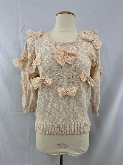 BONNIE & BILL by Holly VINTAGE size PS Light Peach Sweater top Lace Pearl Wome's