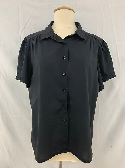 Judy Bond Vintage size 18 Black Polyester Short Sleeve/Button Front Blouse