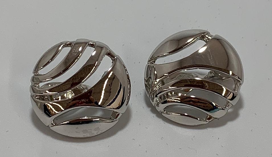 Vintage Monet Silver Tone Earrings Clip On