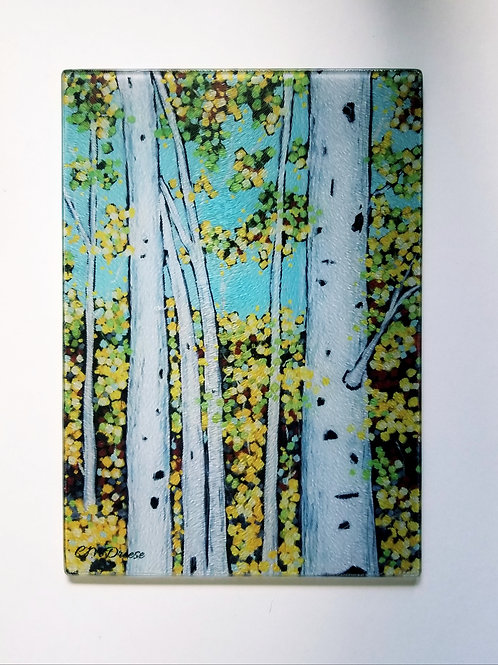 Birch Trees Glass Art/ Cutting Board