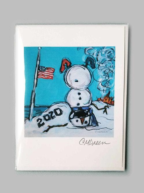 2020 Covid USA Snowman Notecard