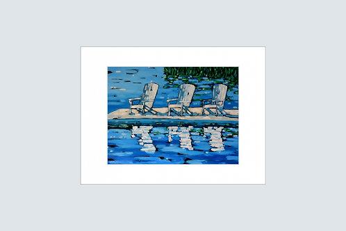 """Print """"White Adirondack Chairs"""""""