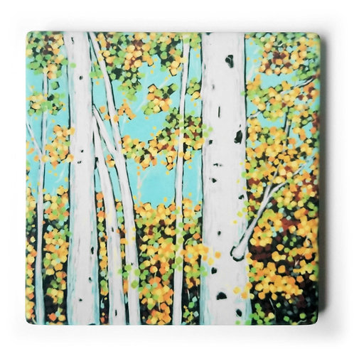 Autumn Birch Trees Coaster and Pot Holder