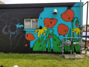 Art in the Park mural project underway at Plantenga's Cleaners in Spring Lake, Michigan.