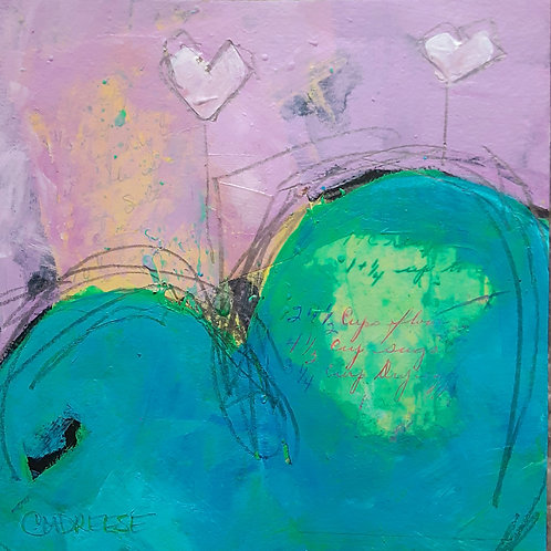 "Original Mixed Media Painting: 8""x8"" Spreading the Love Heart VII Series"