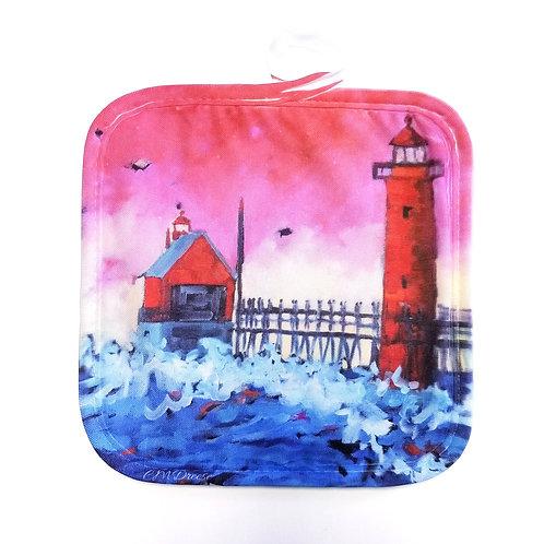 Grand Haven Sunset Lighthouse Pot Holder